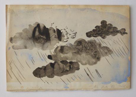 Regen 2008 inkt en aquarel op antiek papier 19,5 x 28,5 cm