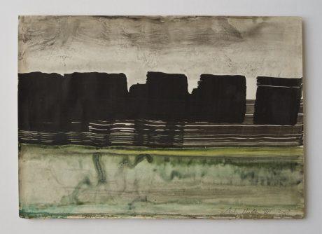 Rotskust 2008 inkt op antiek papier 20 x 28 cm