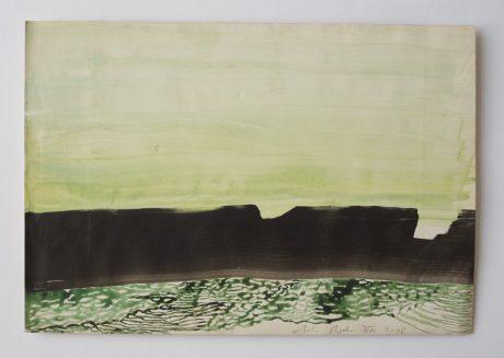 Rotskust I 2008 inkt en aquarel op antiek papier 19,5 x 28,5 cm