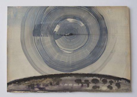 Moonrise 2008 inkt en aquarel op antiek papier 19,5 x 28,5 cm