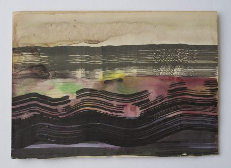 Zee bij avond 2008 inkt en aquarel op antiek papier 20 x 28,5 cm