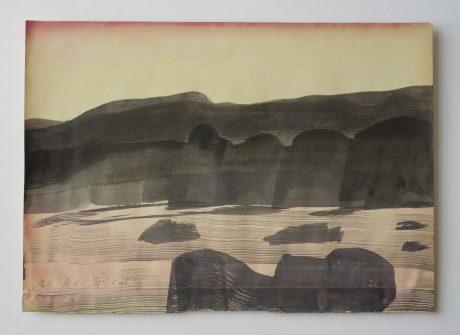Strand bij avond 2008 inkt en aquarel op antiek papier 20 x 28 cm