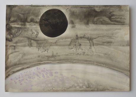 Black Sun 2008 inkt en aquarel op antiek papier 19,5 x 28,5 cm