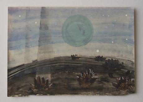 Moonfield 2008  inkt en aquarel op antiek papier 20 x 28 cm