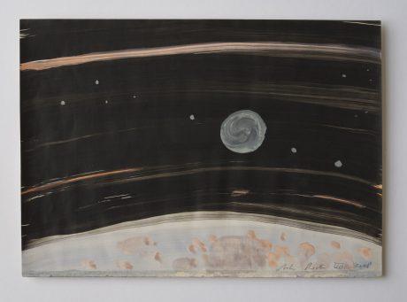 Maan en aarde 2008 inkt en aquarel op antiek papier 20 x 28 cm