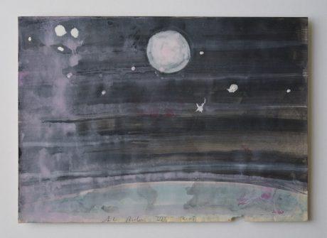 Volle Maan 2008 inkt en aquarel op antiek papier 20 x 28 cm