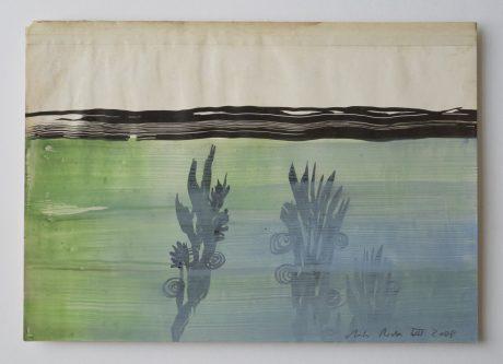Waterplanten 2008 inkt en aquarel op antiek papier 20 x 28,5 cm