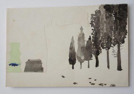 De reis 2006 inkt, collage op antiek papier 18.5 x 28.5 cm