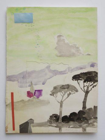 De reis II 2006 potlood, inkt, aquarel, collage op antiek papier 28 x 18 cm