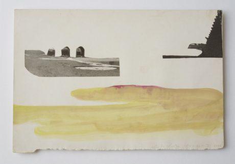 Castricum 2006 aquarel, collage op antiek papier 19 x 28 cm