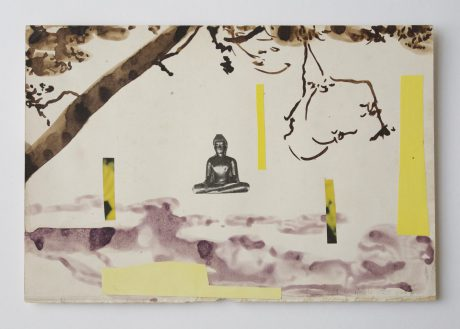 Buddha Dream 2006 inkt, bister, collage op antiek papier 19 x 28,8 cm