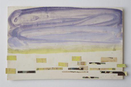 Castricum Strand 2006 gouache, collage op antiek papier 18 x 28,5 cm