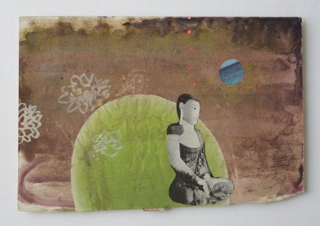 Buddha Dream 2006 gouache collage op antiek papier 19,5 x 28,5 cm