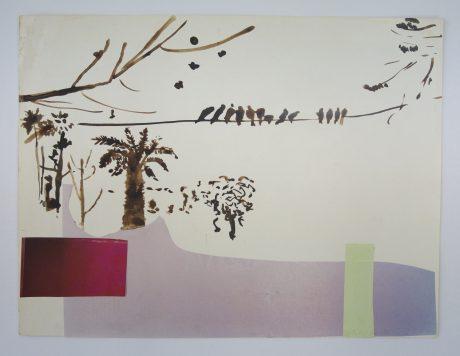 Birds in a tropic garden 2006 inkt en collage op papier 24 x 31,5 cm