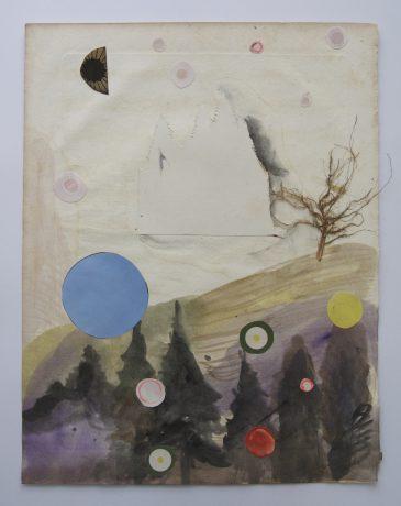 Into the Woods 2007 inkt en collage op antiek muziekpapier 32,5 x 25 cm
