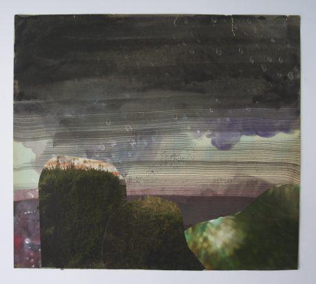 Moss Evening 2014 inkt aquarel en collage op antiek papier