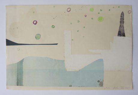 Sea Travels 2006 aquarel en collage op papier 23 x 34,5 cm
