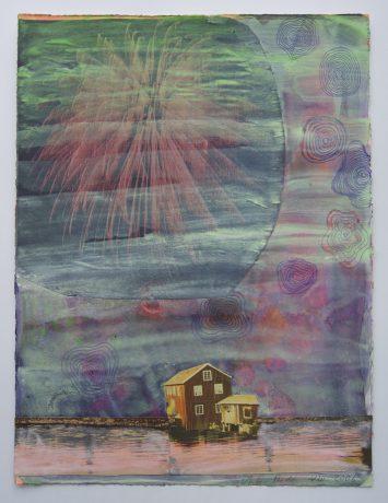 Noorderlicht 2006 aquarel gouache en collage op papier 32 x 24 cm - private collection