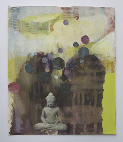 Buddha dream 2007 aquarel , gouache en collage op papier 30 x 25 cm