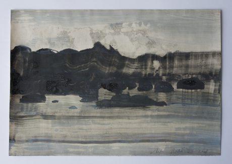 Rotskust 2008 inkt en aquarel op antiek papier  19,5 x 28 cm -private collection