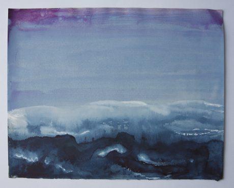 Zee 2008  Aquarel op antiek papier 22 x 27,5 cm - private collection
