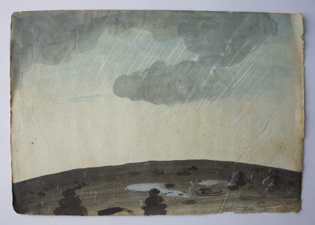 Regen 2008 aquarel op antiek muziekpapier 24 x 35 cm