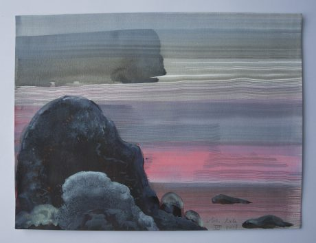 Rotsen in Zee 2008 inkt en aquarel op aquarelpapier 24 x 32,5 cm