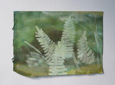 In het Bos I 2002 aquarel en inkt op tekenpapier 15 x 20,5 cm - private collection