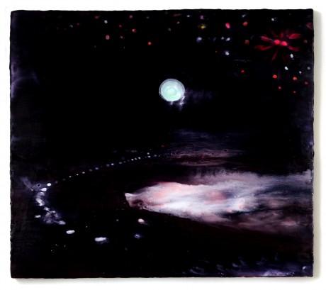 Nachtzee  50 x 56 cm  encaustiek op houtpaneel
