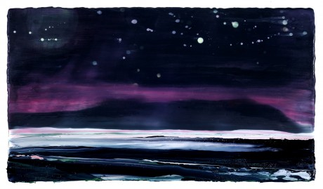 Dark Moon, Starry Night  31 x 56 cm  encaustiek en olieverf op hout