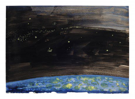 Nacht 2008 gemengde techniek op papier 20 x 28 cm - collectie Triodos Bank