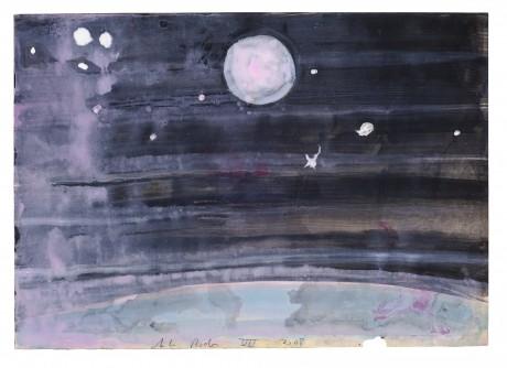 Volle maan 2008 20 x 28 cm  gemengde techniek op papier