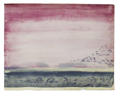 Landscape of clouds 2008 inkt en aquarel op antiek papier 21,5 x 27,5 cm - private collection