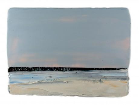 Winter. Zee  25 x 35 x 7 cm encaustiek en olieverf op zeehout