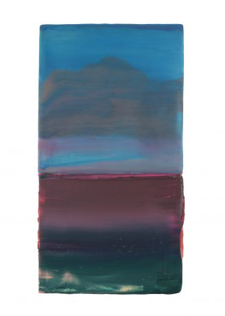 In a Landscape 2019 encaustiek en olieverf op eikenhout 37 x 20 x 4 cm