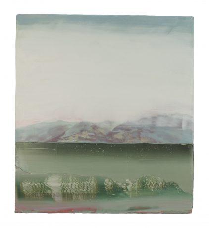 Japanese Landscape II encaustiek en olieverf op houtpaneel 50 x 45 cm