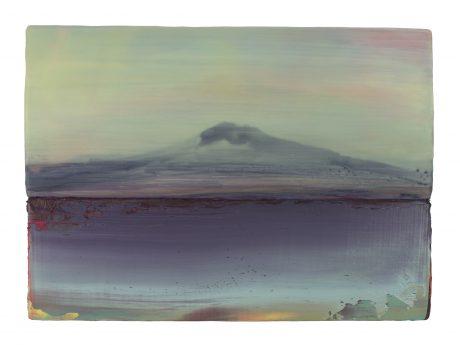 Mount Fuji II encaustiek en olieverf op hout 30 x 42 cm