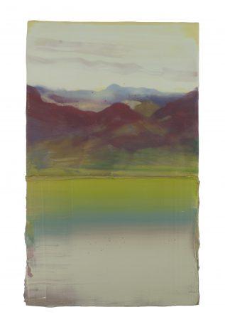Mountains & Water  encaustiek en olieverf op hout 33 x 20 cm