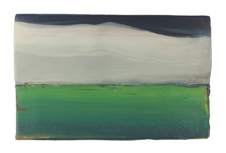 Sky in April  encaustiek en olieverf op eikenhout 19 x 30 cm