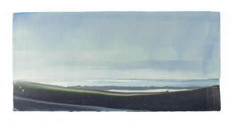Wind en Wolken encaustiek en olieverf op hout 26  x 55 cm