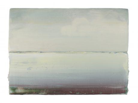 Wit Wad 18 x 24,5 cm encaustiek en olieverf op hout