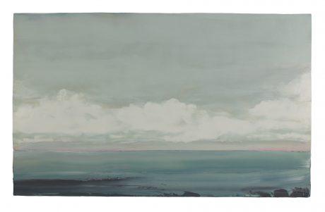 Zeewolken encaustiek en olieverf op houtpaneel 81 x 131 cm
