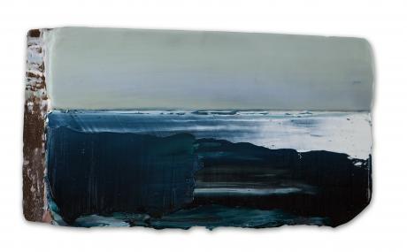 Noordelijk Wad  16 x 29 cm  encaustiek en olieverf op zeehout