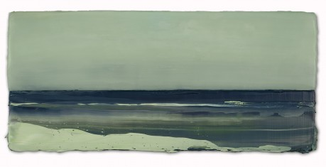 Licht aan Zee  23 x 51 x 7 cm  encaustiek en olieverf op hout