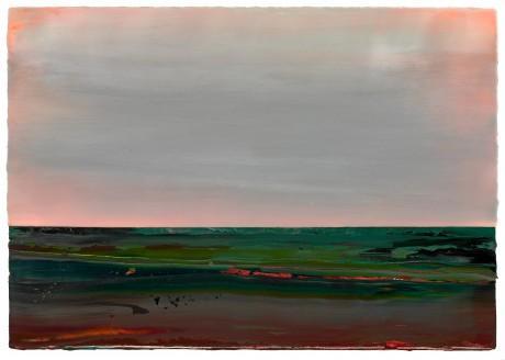 Zonsondergang 70 x 101 cm encaustiek en olieverf op houtpaneel