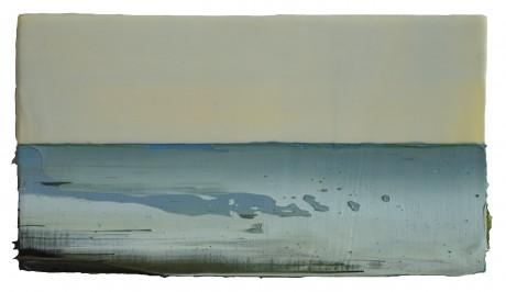 Zee, Lente 20 x 36 cm encaustiek en olieverf op hout