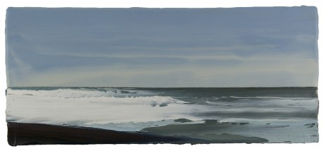 Aan Zee  21 x 48 cm  encaustiek en olieverf op hout