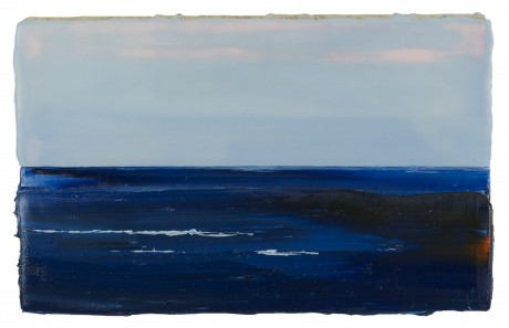 Blauwe Zee  15 x 24 cm  encaustiek en olieverf op zeehout