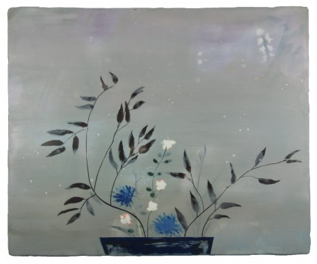 Moribana Winter 57 x 69 cm encaustiek op houtpaneel