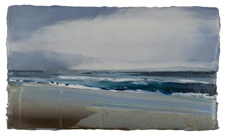 Storm 24 x 41 cm encaustiek en olieverf op zeehout